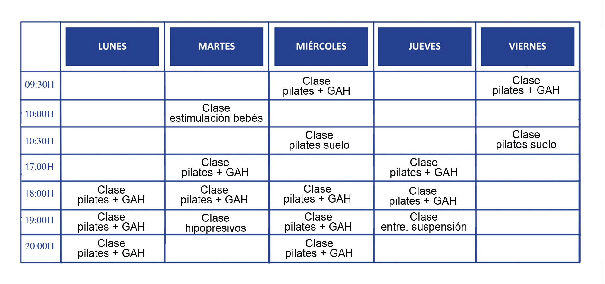 Horario clases grupales 19/20